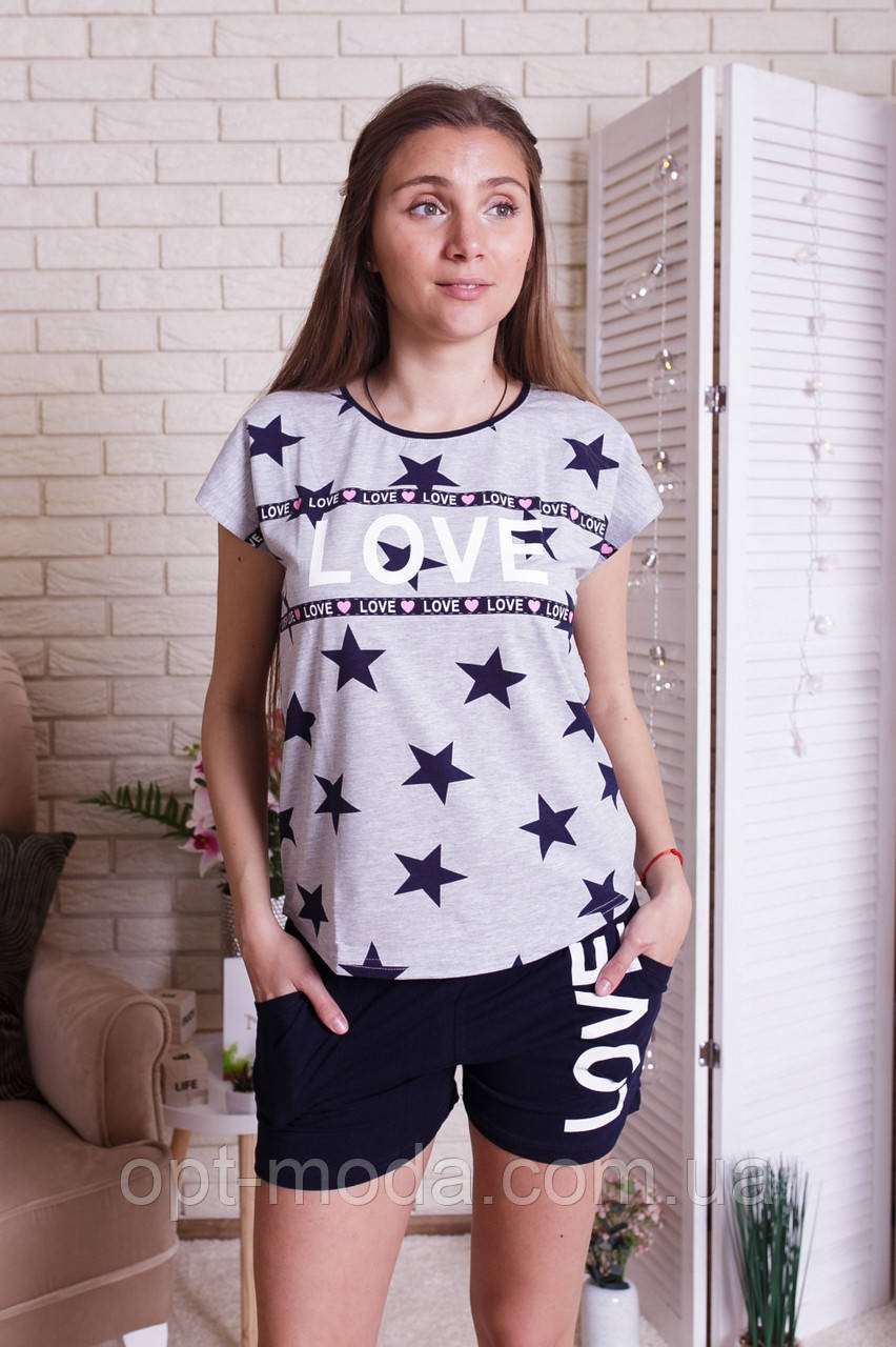 """Классный женский комплект с шортиками и цветными сердечками на футболке """"Love"""""""