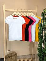 Жіноча футболка приталена однотон, 6 кольорів, XS, S, M, L   женская базовая футболка приталенная, 6 цветов