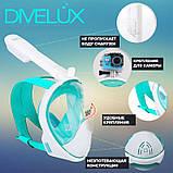Маска для плавания Divelux зеленая S/M Белый с бирюзовым, фото 2