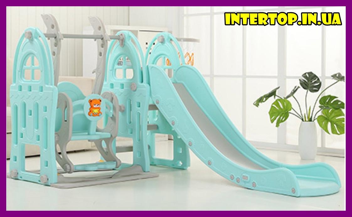 Детский пластиковый игровой комплекс 2 в 1 горка с кольцом + качель Bambi WM19017-4 серо-голубой для дома