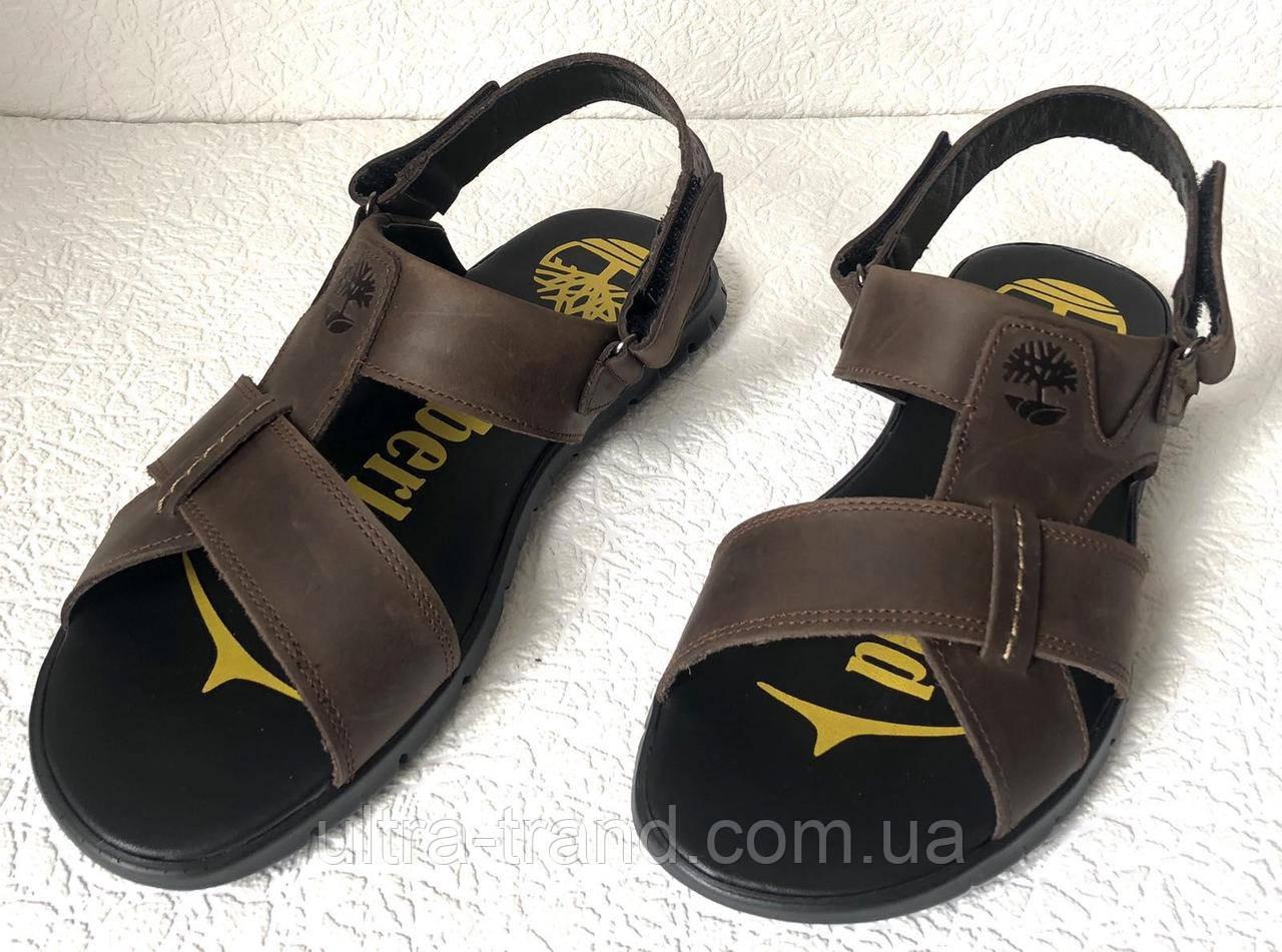 Мужские босоножки Timberland темно-коричневые кожаные сандали сандалии обувь лето