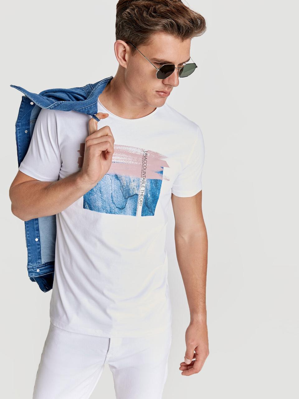 Белая мужская футболка LC Waikiki / ЛС Вайкики Unaccountable Theory