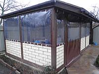 Мягкие прозрачные окна из ПВХ ткани для беседки