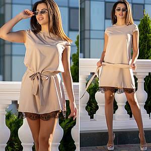 Платье бежевое с поясом и кружевом летнее повседневное