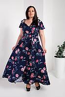 Длинное женское платье батал с запахом