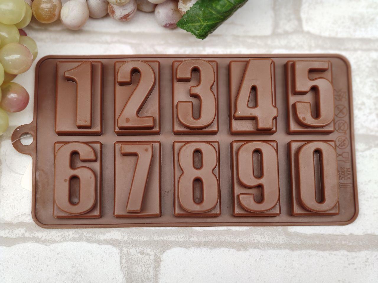 """Форма из пищевого силикона """"Цифры"""",  10 ячеек, 20,5*11*2 см., 70\60  (цена за 1 шт. + 10 гр.)"""