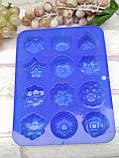 """Форма силиконовая """"Цветы ассорти"""", 12 ячеек, 21*16*3 см., 60\50 (цена за 1 шт. + 10 грн.), фото 5"""