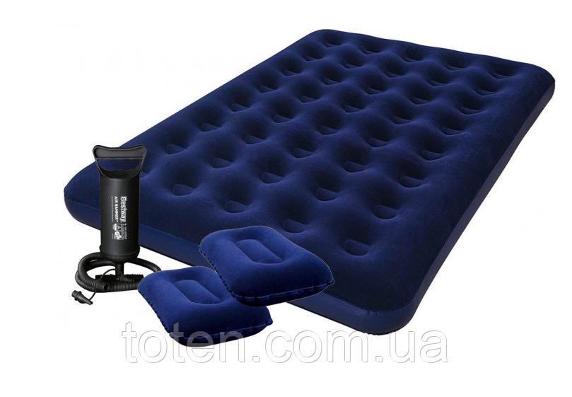 Комплект: двухспальный матрас Bestway 67374. Насос + 2 подушки 152x203x22 см 1802