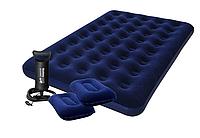 Матрас надувной Комплект: двуспальный Bestway 67374. Насос + 2 подушки 152x203x22 см
