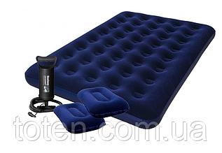 Комплект: двоспальний матрац Bestway 67374. Насос + 2 подушки 152x203x22 см