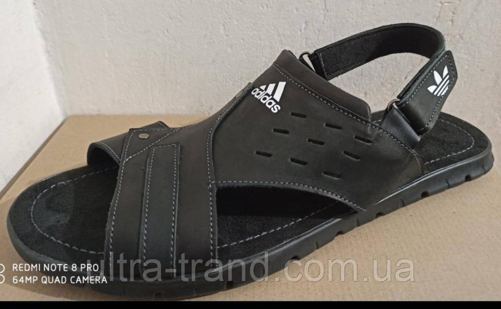 Кожаные мужские летние сандали adidas большого размера 46, 47, 48, 49, 50