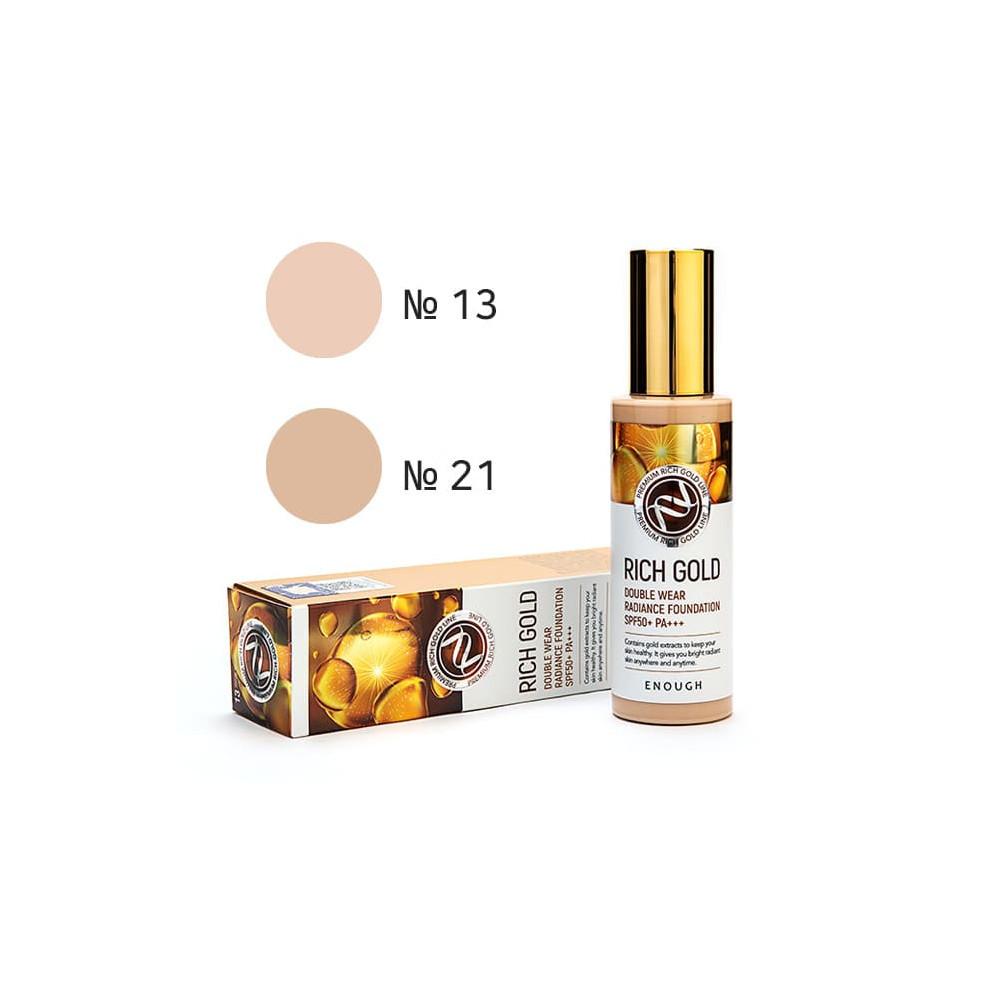 Тональный крем с экстрактом золота Еnough Rich Gold Double Wear Radiance Foundation SPF50+ 13 тон