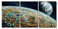 Модульная картина настенная с часами в гостинную Космос 30x45 30x45 30x45 см, оригинальный подарок для дома