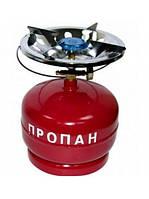 Баллон газовый бытовой 5 литров, бутан, с горелкой
