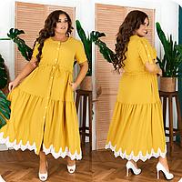 Платье на пуговицах с отделкой кружевом, с 48 по 66 размер