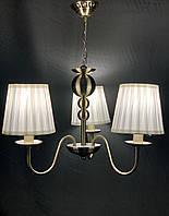 Классическая подвесная люстра с абажурами на 3 лампы бронза, фото 1