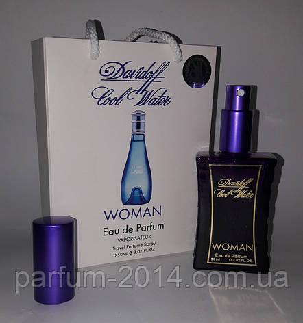 Женский мини парфюм кул вотер Cool Water woman в подарочной упаковке 50 ml (лиц) аромат духи запах пробник, фото 2