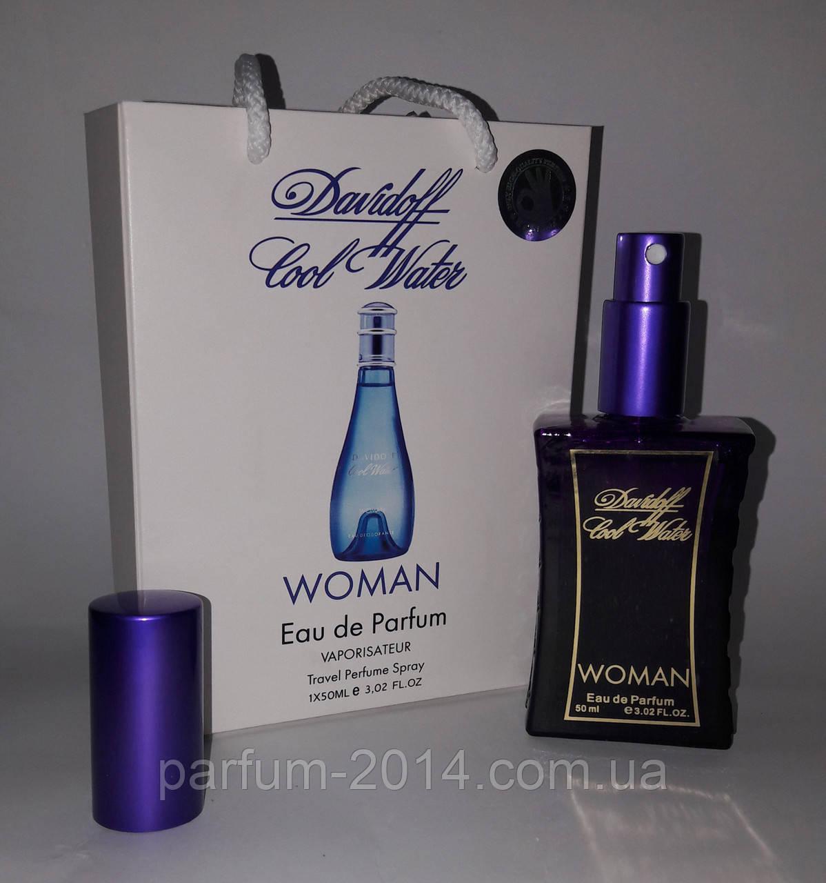 Женский мини парфюм кул вотер Cool Water woman в подарочной упаковке 50 ml (лиц) аромат духи запах пробник