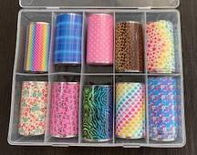 Новинка!Набор фольги для маникюра ,весенний принт 10 штук в упаковке