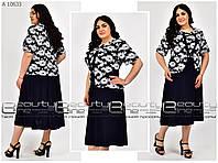 Женское летнее платье обманка юбка- клешь, большого размера Р- 62, 64, 66, 68, 70, 72 масло с принтом