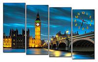 Большие часы картина на стену в гостинную модульные Биг-Бен 30x70 30x70 30x70 30x70 см