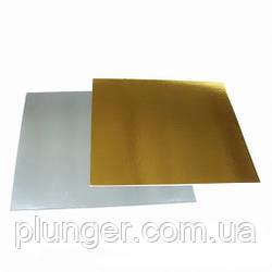Підкладка квадратна під торт 40 х 40 см, золото/срібло