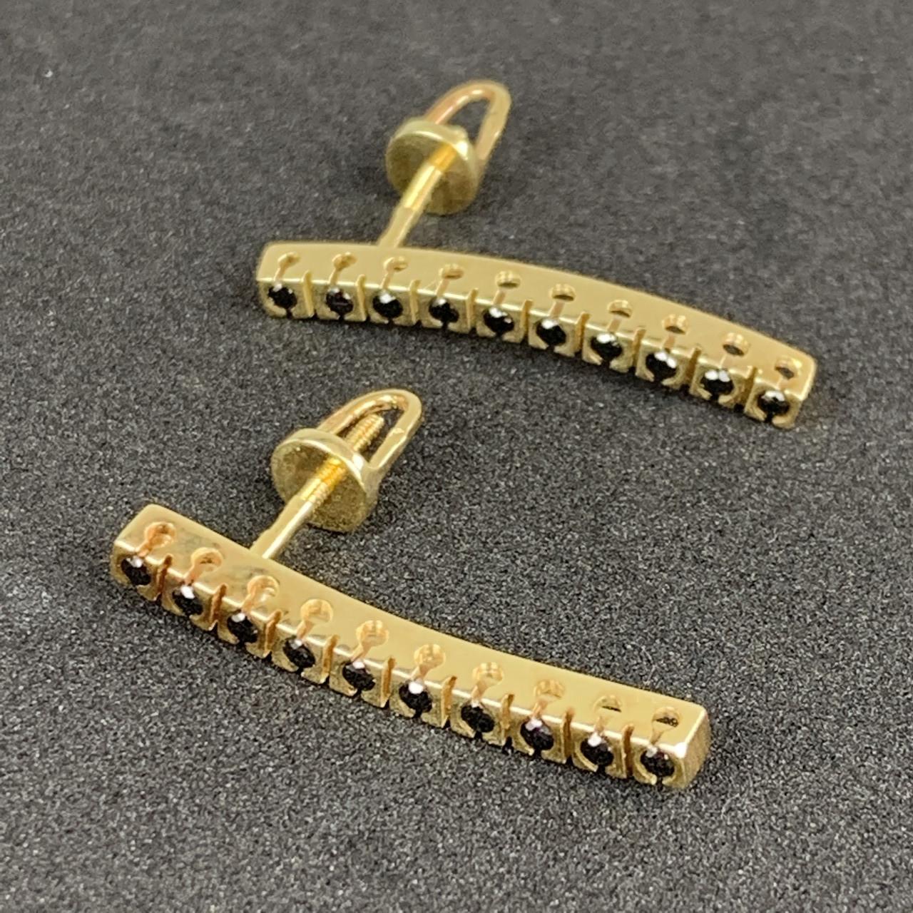Шикарные золотые серьги с черными бриллиантами 585 пробы Б/У