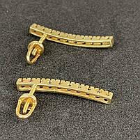 Шикарные золотые серьги с черными бриллиантами 585 пробы Б/У, фото 2