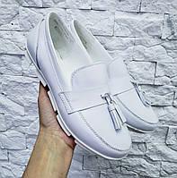 Стильные женские туфли на низком ходу натуральная кожа белые 36-41 размер