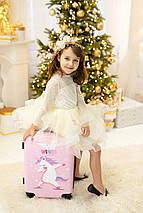 Детский пластиковый чемодан для девочки с единорогом для ручной клади S, фото 2