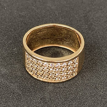 Золотое кольцо Б/У с фианитами 585 пробы, вес 6.81 г