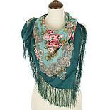 Румянец 1540-9, павлопосадский платок шерстяной  с шелковой бахромой, фото 2