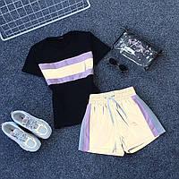 Молодежный светоотражающий костюм светящийся в темноте футболка и шорты