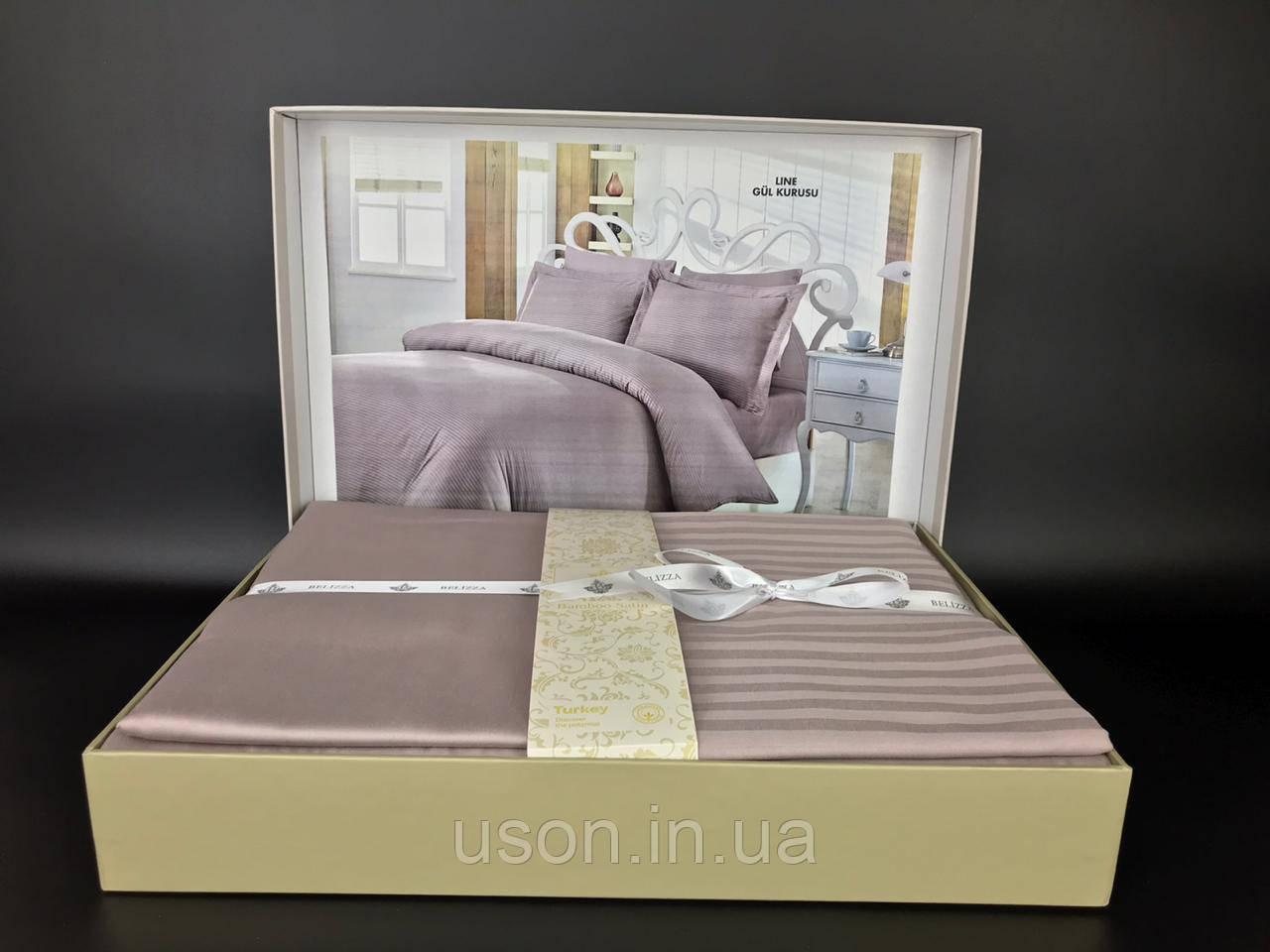 Комплект постельного белья сатин-страйп TM Belizza 200*220 Line gul kurusu