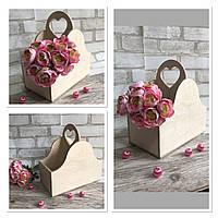 Ящик декоративний на відділа із ручкою-сердечком 26х25х14 см., 180/150 (ціна за 1 шт. + 30 гр)