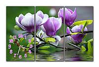Фиолетовая Модульная картина настенная с часами Магнолия у воды 30x60 30x60 30x60 см