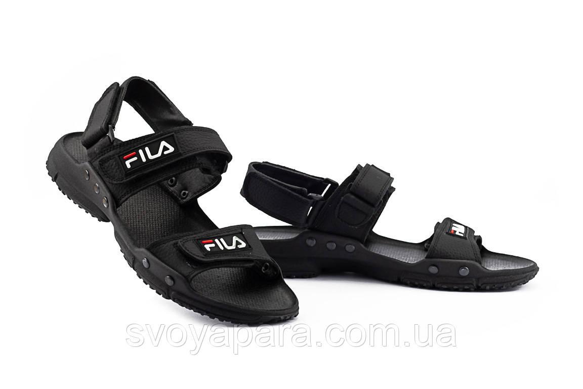 Мужские сандали кожаные летние черные CrosSav Sport 215