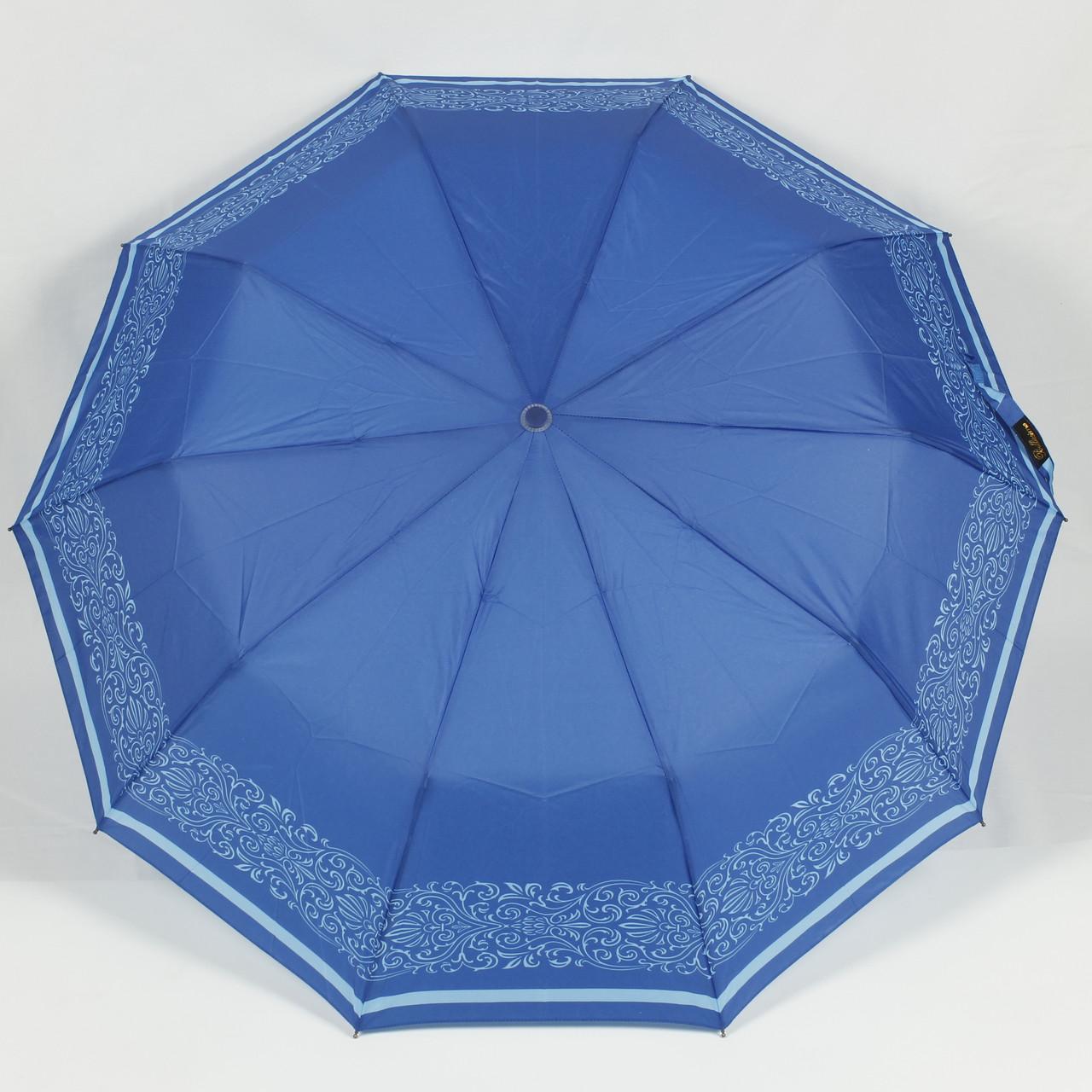 Зонт женский полуавтомат 3 сложения Bellisimo синий с орнаментом