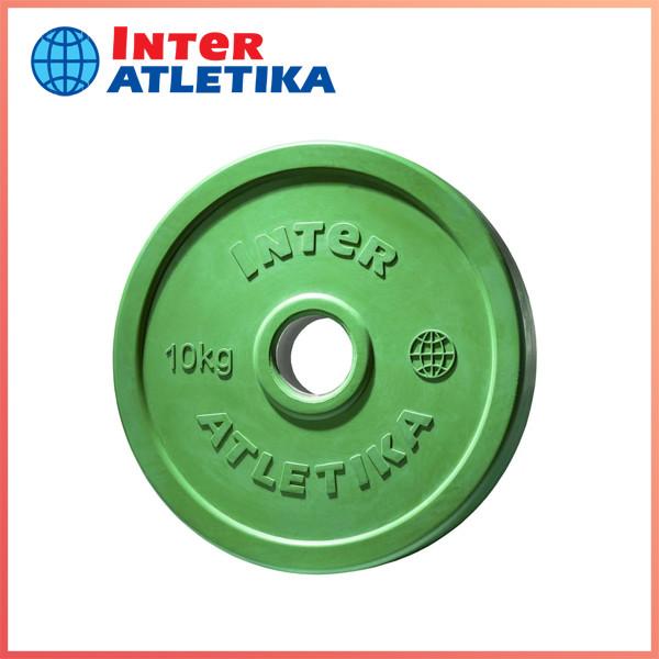 Диск обрезиненный цветной InterAtletika LCA032-M 10 кг