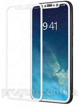 Защитное стекло (броня) для iPhone X (5.8) белая рамка 2.5D (0.26 mm)