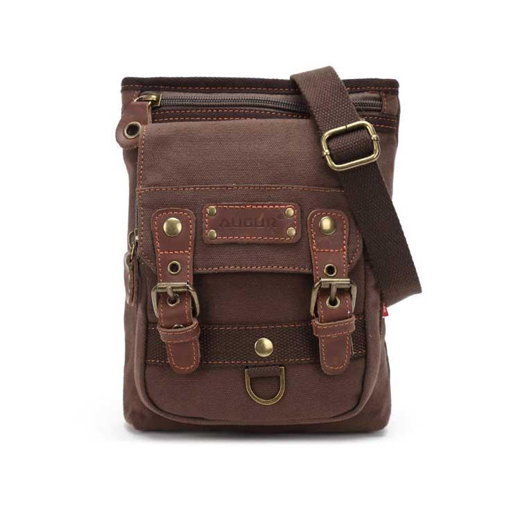 Небольшая мужская брезентовая сумка Augur коричневого цвета
