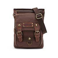 Небольшая мужская брезентовая сумка Augur коричневого цвета, фото 1