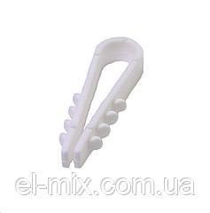 """Дюбель-затиск для кабелю d6мм """"ялинка"""" 8-0501 білий (100шт)"""