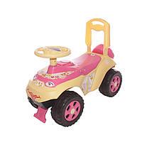Детская машинка толокар для катания,  для девочек от 2 лет, желто-розовый