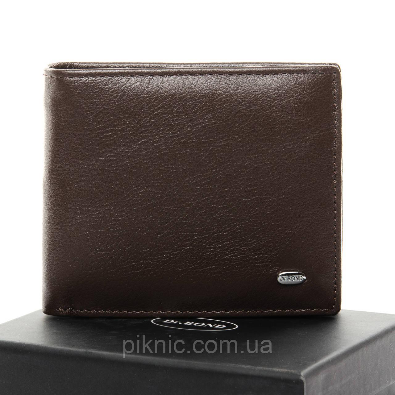 Кожаный мужской кошелек Dr Bond на магните, зажим для денег. Портмоне из натуральной кожи. Коричневый