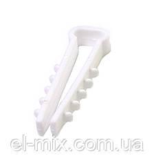 Дюбель-зажим для плоского кабеля 8х5мм ''елочка'' 8-0510 белый (100шт)