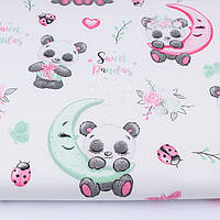 """Ткань бязь """"Две панды под зонтиком"""" на белом фоне, № 2718а"""