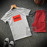 Комплект Футболка + Шорты Boss x grey-burgundy мужские   спортивный костюм летний, фото 1