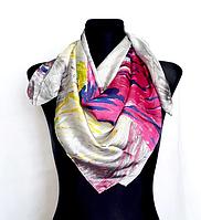 Шелковый платок Fashion Звездная ночь 90*90 см репродукция картины Ван Гога серый