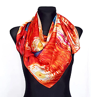 Шовковий хустку Fashion Зоряна ніч 90*90 см репродукція картини Ван Гога помаранчевий